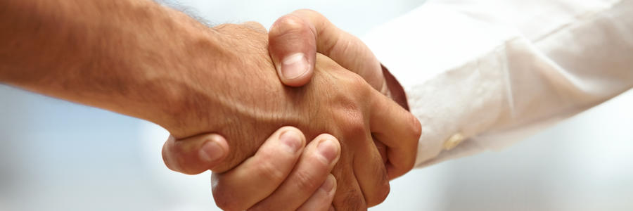 Closeup of a business handshake