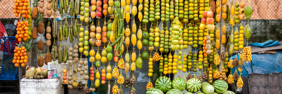 Amazonic traditional fruits on road shop